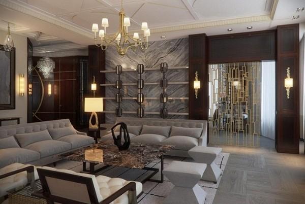 серый и коричневый цвета в дизайне гостиной