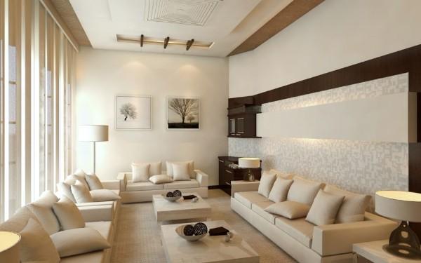 современная гостиная где мало света