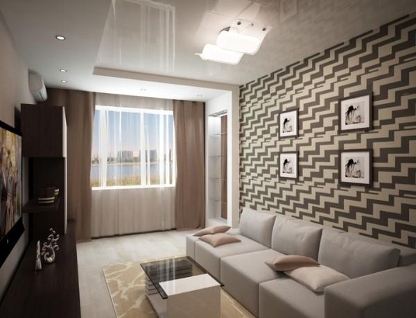 современный дизайн гостиной студии где мало света