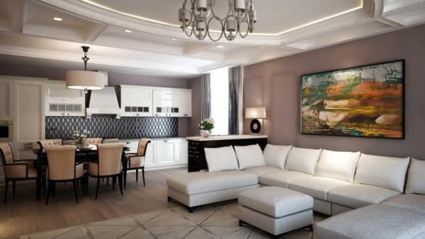 современный дизайн гостиной студии с кофейными стенами