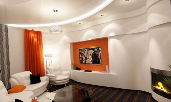 светлая гостиная где мало света в современном стиле