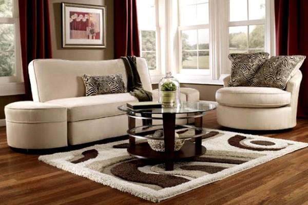 светло-коричневый ковёр на полу в дизайне гостиной