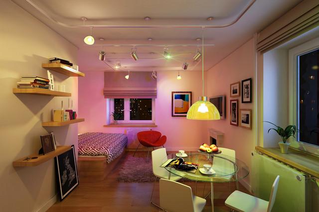 точечное освещение в однокомнатной квартире