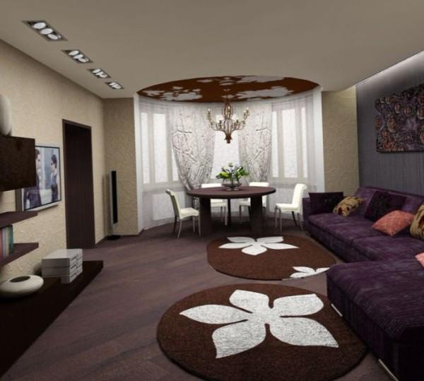 уютная гостиная студия с эркером где мало света в современном стиле
