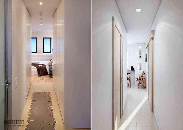 узкий коридор дизайн в квартире фото