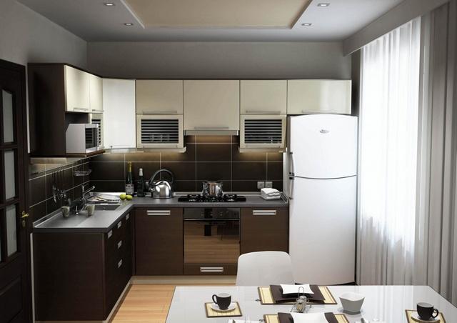 зеркальные фасады гарнитура в небольшой кухне