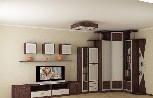 дизайн углового шкафа купе в светлую гостиную