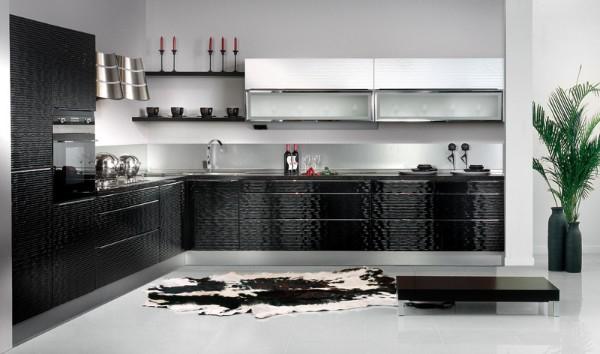 угловой кухонный гарнитур для кухни чёрно-белый