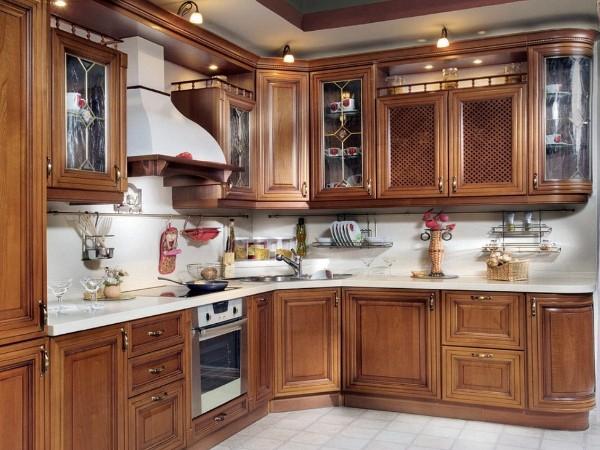 угловой кухонный гарнитур для кухни венецианский стиль
