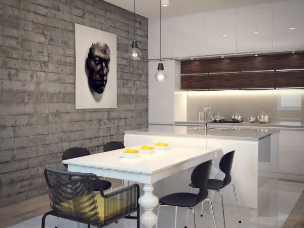 белая глянцевая кухня цвет фасада лофт