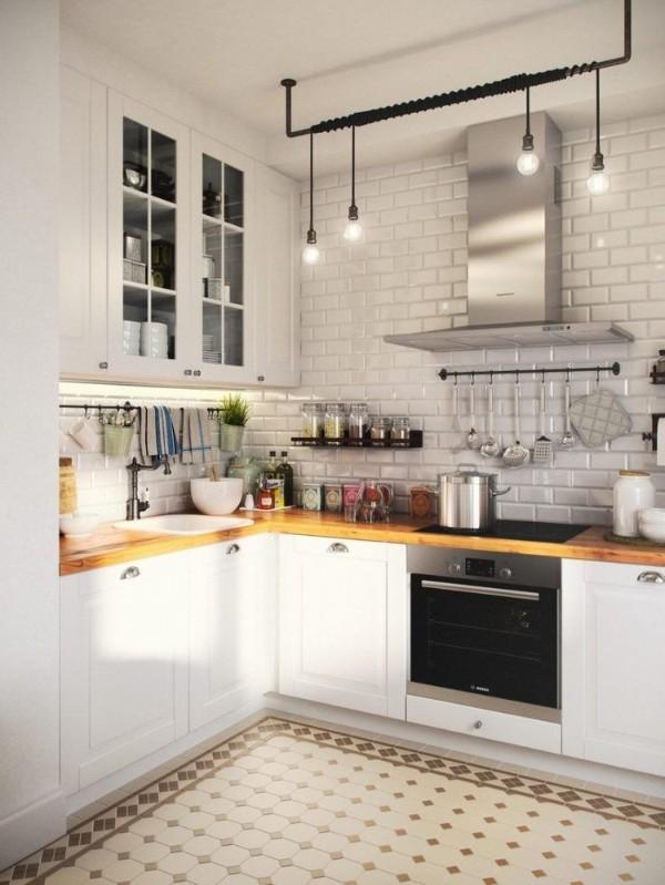 белая лофтовая угловая кухня для маленькой кухни