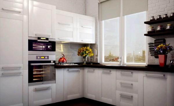 белая маленькая угловая кухня для маленькой кухни с мойкой у окна