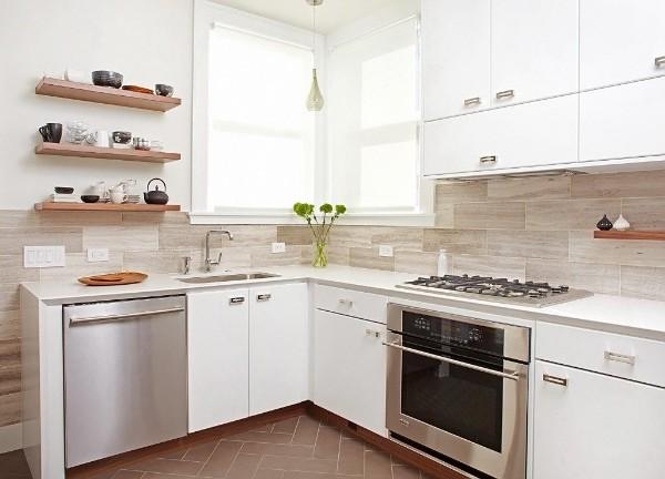 белый дизайн маленькой угловой кухни