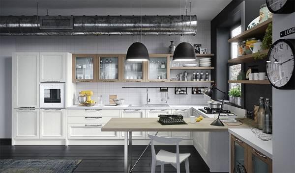 белый лофтовый угловой кухонный гарнитур для кухни фото