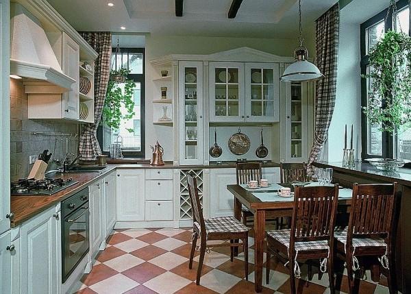 белый угловой кухонный гарнитур для кухни в стиле прованс фото