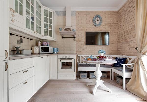 белый угловой кухонный гарнитур для небольшой кухни