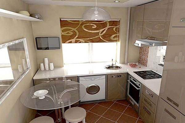бежевая маленькая угловая кухня для маленькой кухни со встроенной техникой