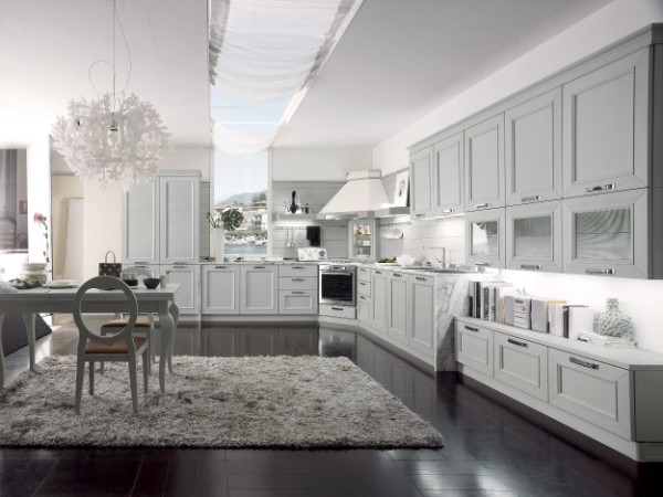 бледный оттенок серый цвет в дизайне фасада кухни