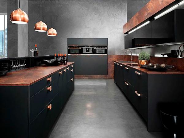 чёрный цвет фасада кухни минимализм