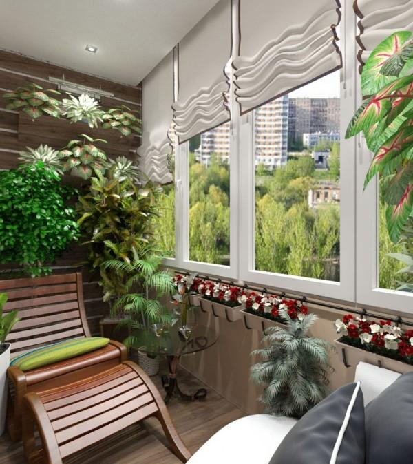 дизайн балкона маленького размера цветочный интерьер
