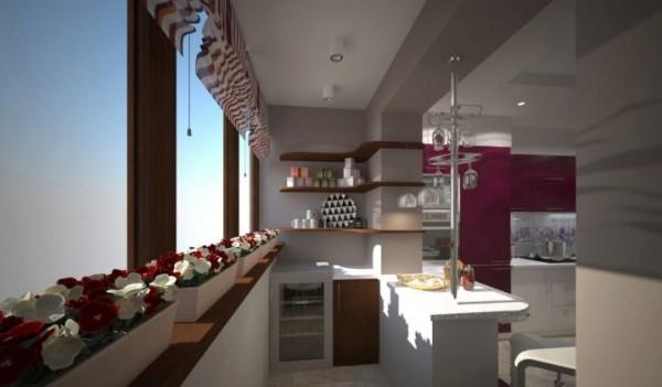 дизайн балкона совмещённый с кухней