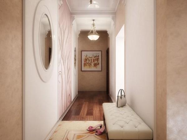 дизайн длинного коридора в бежевом цвете в квартире фото
