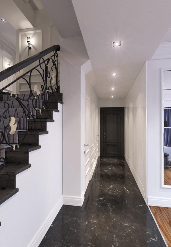 дизайн длинного узкого коридора в доме