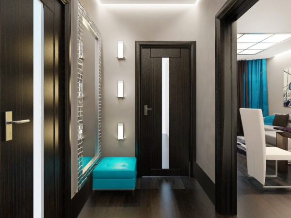 дизайн коридора в квартире в серо-коричневых тонах