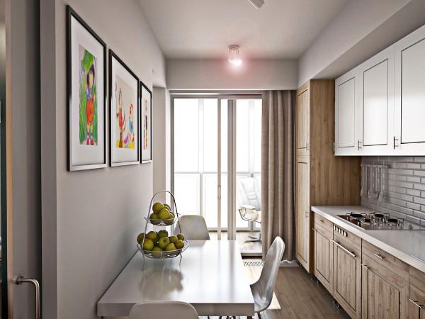 дизайн кухни с выходом на балкон маленького размера