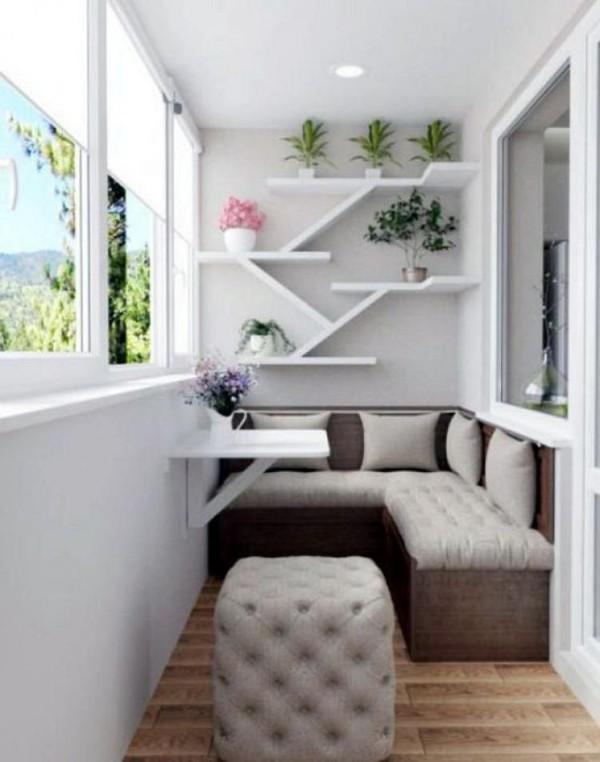 дизайн маленького балкона лаунж зона