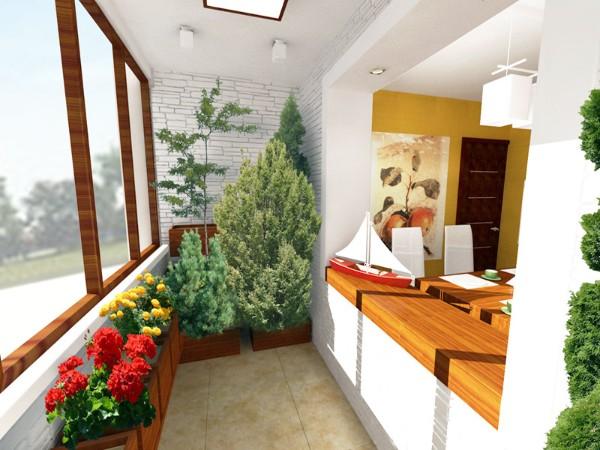 дизайн маленького балкона обьединённого со столовой озеленение