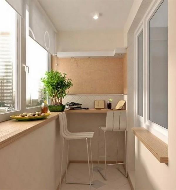 дизайн маленького углового балкона