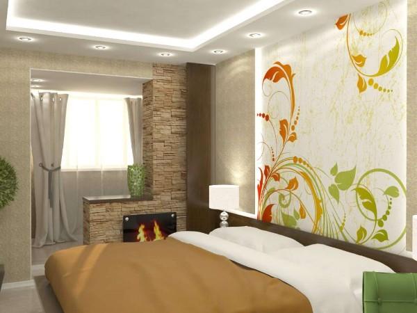 дизайн спальни с выходом на балкон маленького размера