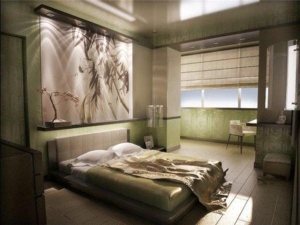 дизайн спальни с выходом на маленький балкон