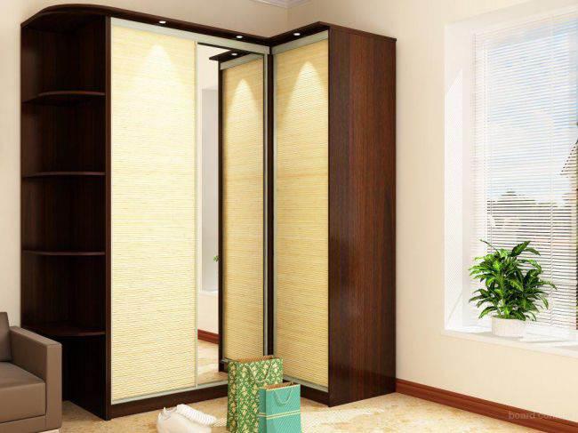 дизайн угловых шкафов купе в гостиных фото