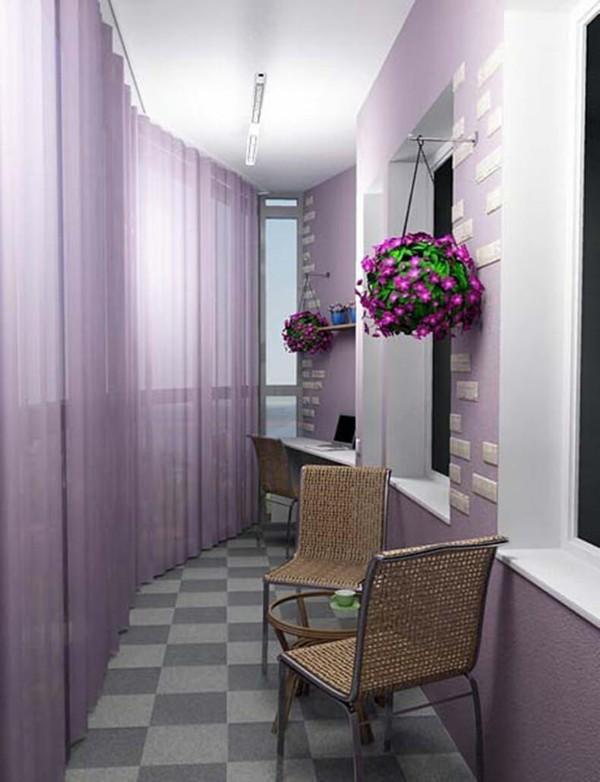 дизайн узкого углового маленького балкона
