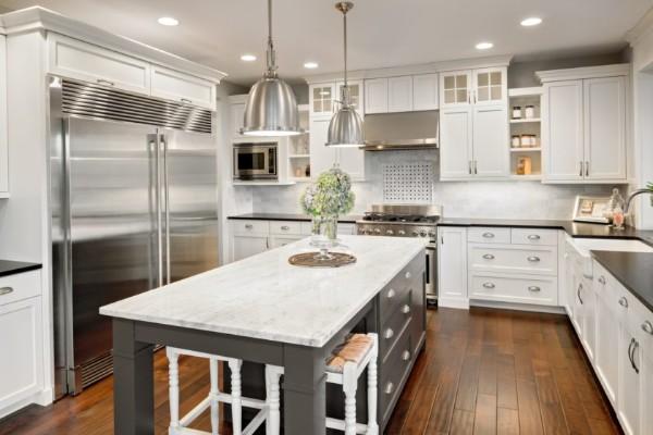 дорогой интерьер угловой кухонный гарнитур для кухни