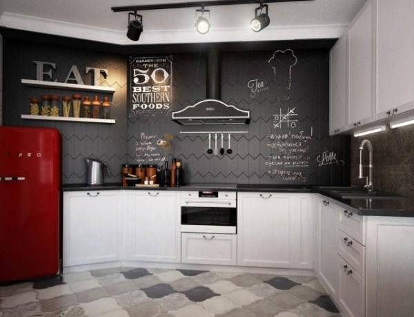 эффектный дизайн маленькой угловой кухни