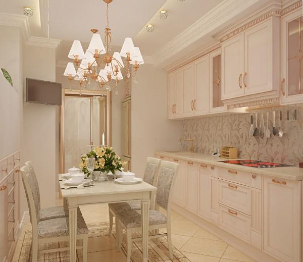 фасад кухни бледно-розового цвета