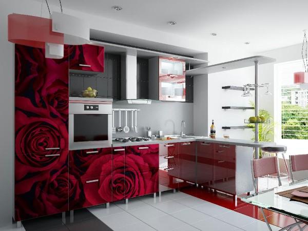 фасад кухни с фотопечатью розы