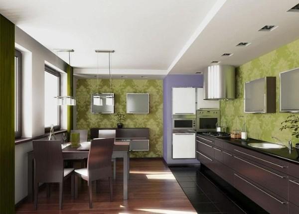 фасад кухни шоколоадного цвета болотные обои