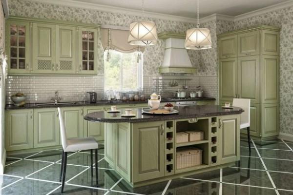 фасад кухни светло-оливкового цвета прованс