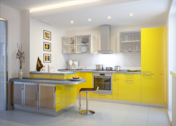 фасад кухни жёлтого цвета