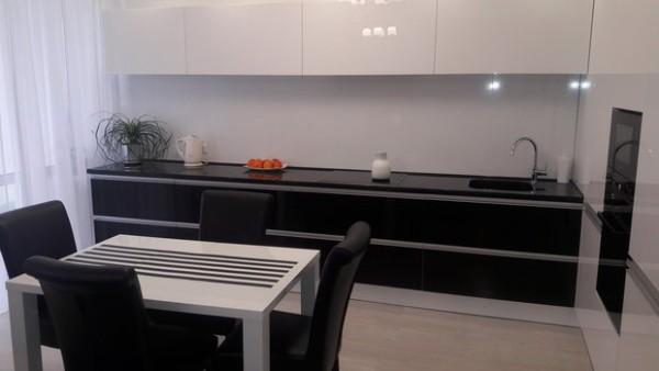глянцевый фасад кухни чёрно-белого цвета