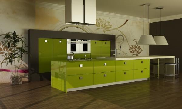 глянцевый фасад кухни травяного цвета