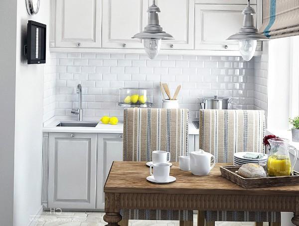 интересная кухня угловая для маленькой кухни в светлых тонах
