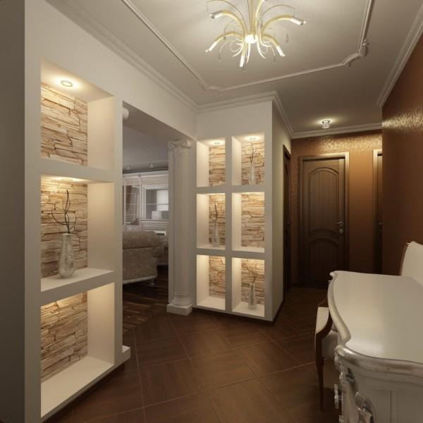 интересная подсветка в дизайне коридора в квартире