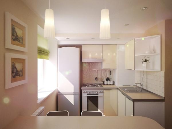 интересный вариант кухонный гаринтур для маленькой кухни