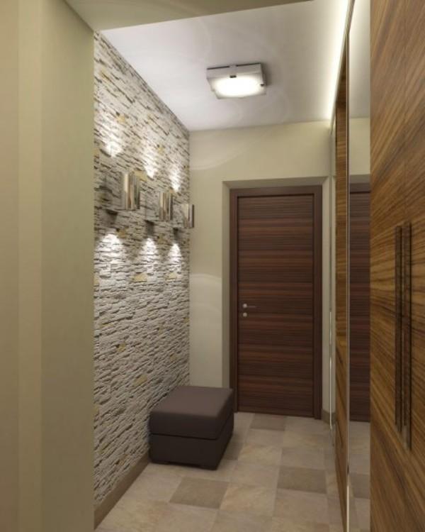 искусственный камень в дизайне длинного коридора в квартире фото