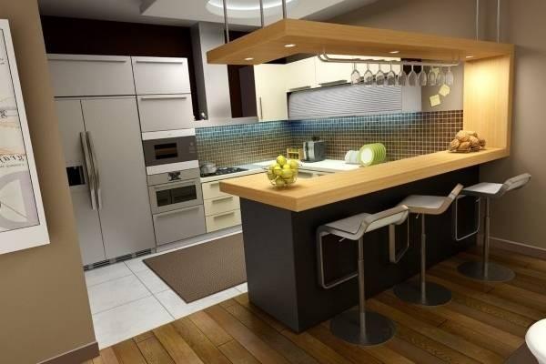 красивая угловая кухни с барной стойкой